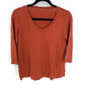 Eileen Fisher Rust 100% Linen 3/4 Sleeve Knit Top
